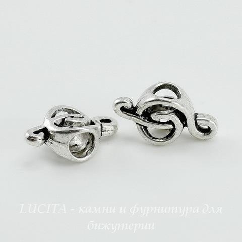 """Бусина металлическая для пандоры """"Скрипичный ключ"""" (цвет - античное серебро) 18х9 мм"""