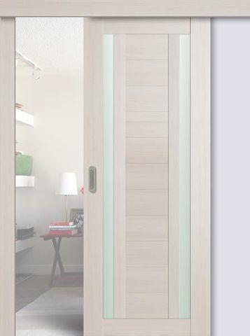 > Экошпон раздвижная Profil Doors №15X-Модерн, стекло матовое, цвет эш вайт мелинга, остекленная