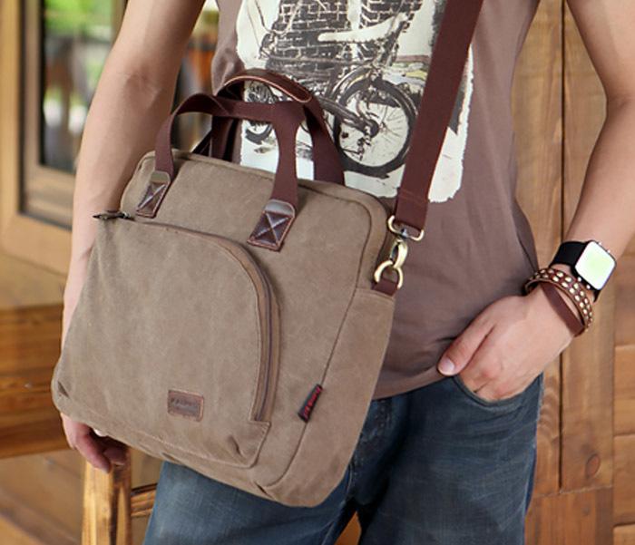 BAG400-1 Мужская сумка портфель с ремнем на плечо из ткани черного цвета фото 05