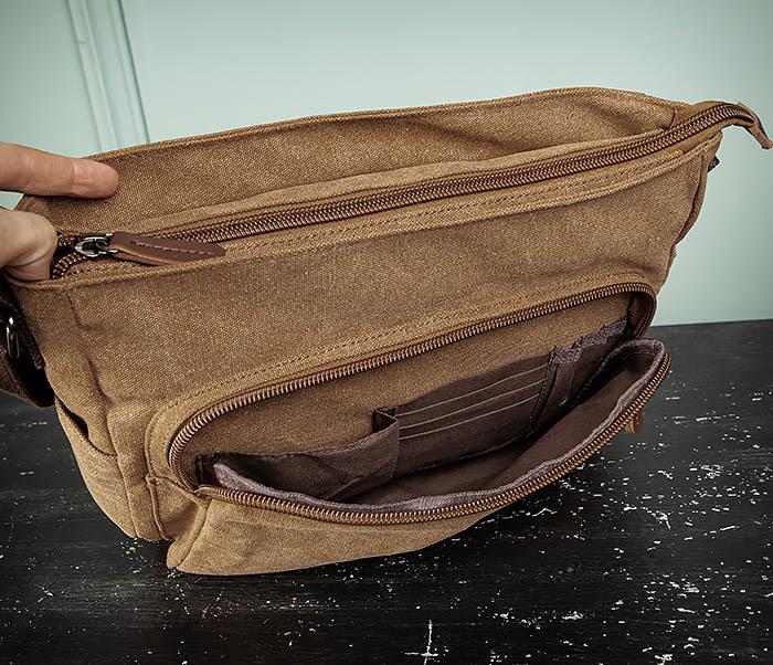BAG504-2 Мужской портфель из ткани коричневого цвета фото 12