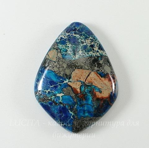 Кабошон Яшма Императорская (прессов., тониров), цвет - голубой, 34х26 мм