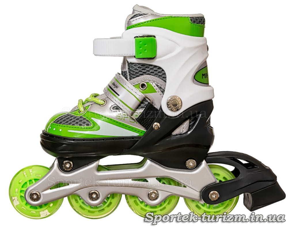 Вид слева на роликовые коньки InLine Skate 28-33 бело-зеленого цвета