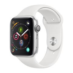 Часы смарт Apple Watch Серия 4, 44мм из алюминия серебристого цвета, спортивный ремешок белого цвета