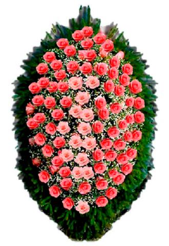 Траурный венок из живых цветов ВЖ 05 -120 см