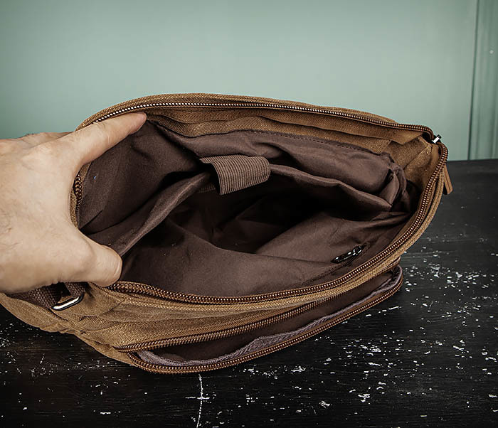BAG504-2 Мужской портфель из ткани коричневого цвета фото 13