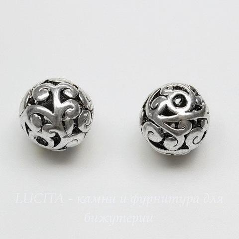 """Бусина металлическая - шарик """"Ажурный"""" 10 мм (цвет - античное серебро)"""