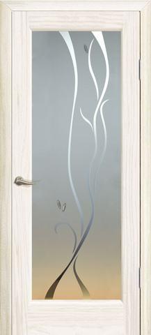 Дверь Океан Новая волна Р, стекло белое, цвет ясень белый жемчуг, остекленная