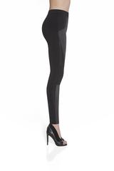 Черные высокие легинсы с кожаными вставками