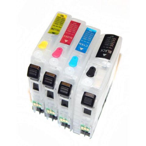 Заправляемые картриджи Brother LC3617, LC3619XL. Комплект 4 штуки. C одноразовыми чипами.