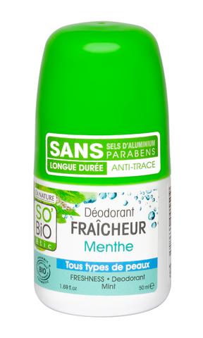 Дезодорант освежающий с мятой, 50 мл (SO'BiO etic)