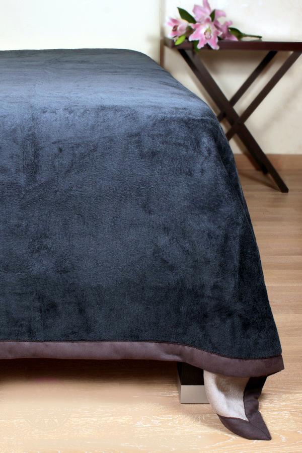 Плед-покрывало 150х220 Luxberry Двустороннее голубой-серый