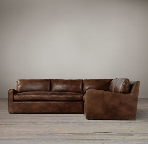 Belgian Slope Arm Leather Customizable Sectional