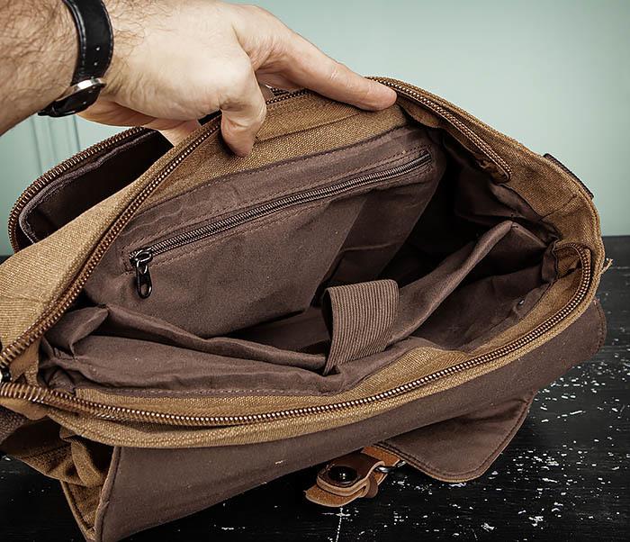 BAG504-2 Мужской портфель из ткани коричневого цвета фото 14