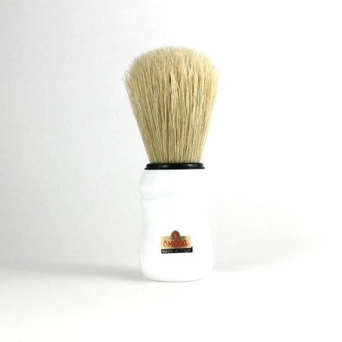 Помазок для бритья Omega,натуральный кабан белая ручка.Сделано в Италии
