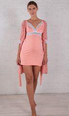 Евромама. Комплект халат и сорочка с кружевом ем 1025К персиковый