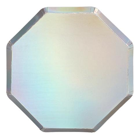 Большие серебряные голографические тарелки