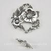 "Замок - тоггл из 2х частей ""Цветы"" (цвет - античное серебро) 29х28 мм, 19х5 мм"