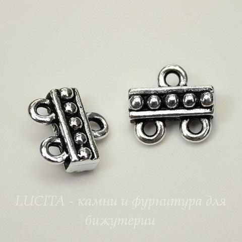 "Коннектор TierraCast ""Бусинки"" (1-2) 10х10 мм (цвет-античное серебро)"