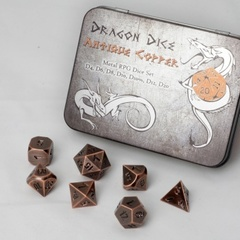 Blackfire Dice Metal Dice Set Antique Copper (7 Dice)