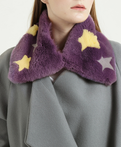 Воротник фиолетовый с желтыми и серыми звездами