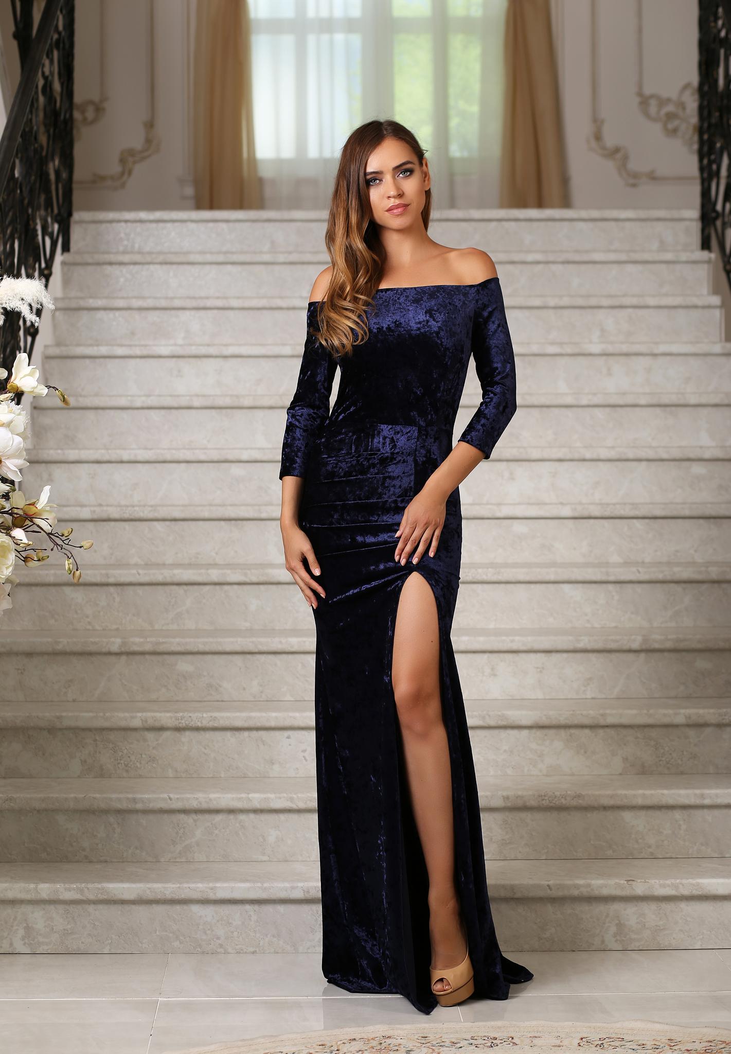 cfb3ee8341d03b4 Длинное вечернее бархатное платье в пол, с разрезом, синее купить в ...