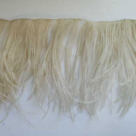 Премиум Тесьма из перьев страуса на нитке в 2 слоя h 10-15 см.,светло-бежевый