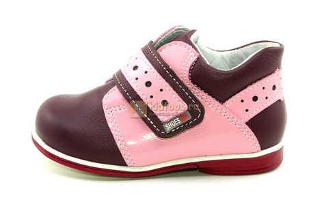Ботинки Лель для девочек кожаные, демисезонные, ортопедические, на липучках, цвет бордо. Изображение 3 из 13.