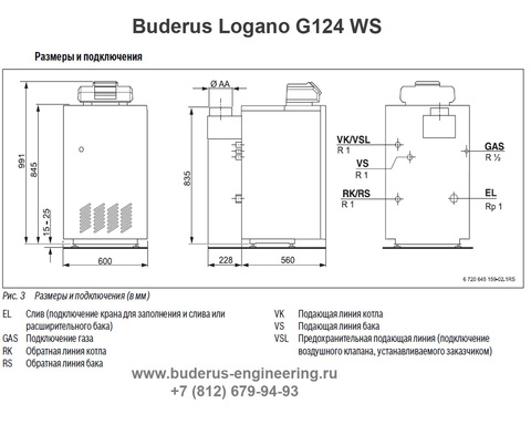 Buderus Logano G124-24WS Газовый Напольный Чугунный Атмосферный котел (RU-TOP) (Размеры подключения)