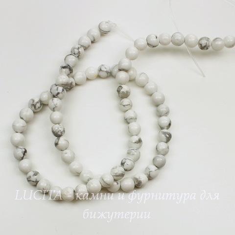 Бусина Говлит, шарик, цвет - белый, 6 мм, нить