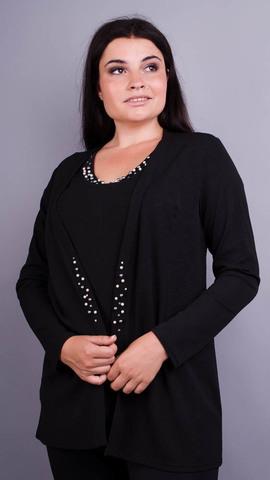 Дона. Жакет+блуза для женщин больших размеров. Черный.