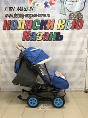 Санки коляски GALAXY CITY 1-1 «синий» с надувными колёсами