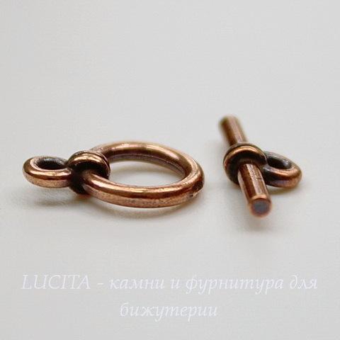 Замок - тоггл из 2х частей TierraCast 12х8 мм, 14х5 мм (цвет-античная медь)