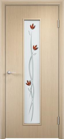 Дверь Сибирь Профиль Ветка (С-17ф) фьюзинг, цвет беленый дуб, остекленная