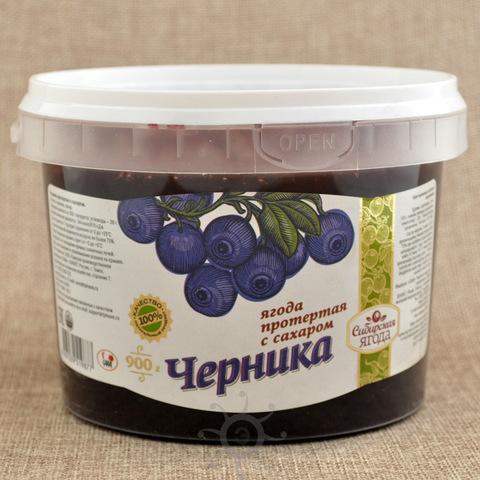 Черника протертая с сахаром Ягода сибирская, 900г