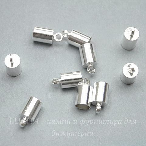 Концевик для шнура 4,5 мм (цвет - серебро) 10х5 мм, 10 штук