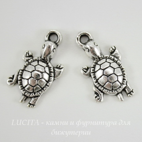 "Подвеска ""Черепаха"" (цвет - античное серебро) 22х12 мм"