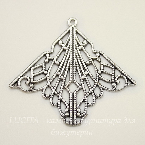 Винтажный декоративный элемент - подвеска 33х30 мм (оксид серебра)