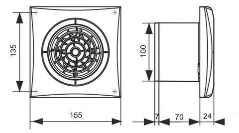 Накладной вентилятор Эра AURA 4C D100 с обратным клапаном
