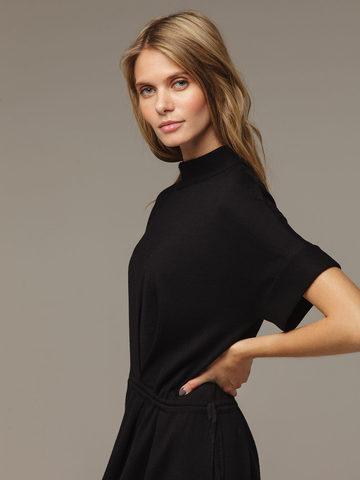 Женское черное платье из 100% шерсти - фото 4