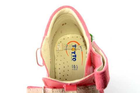 Босоножки Тотто на первый шаг из натуральной кожи закрытые для девочек, цвет грейпфрут. Изображение 10 из 10.
