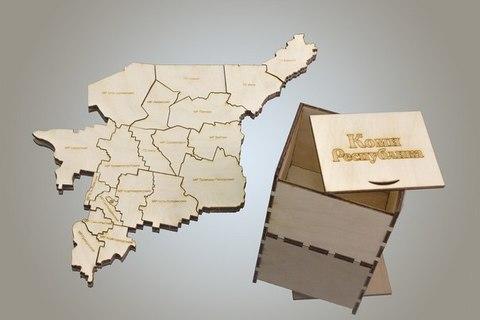 Пазл карта Республики Коми из дерева, в коробке