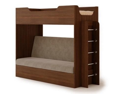 Кровать двухъярусная КР-11 с диваном орех тёмный