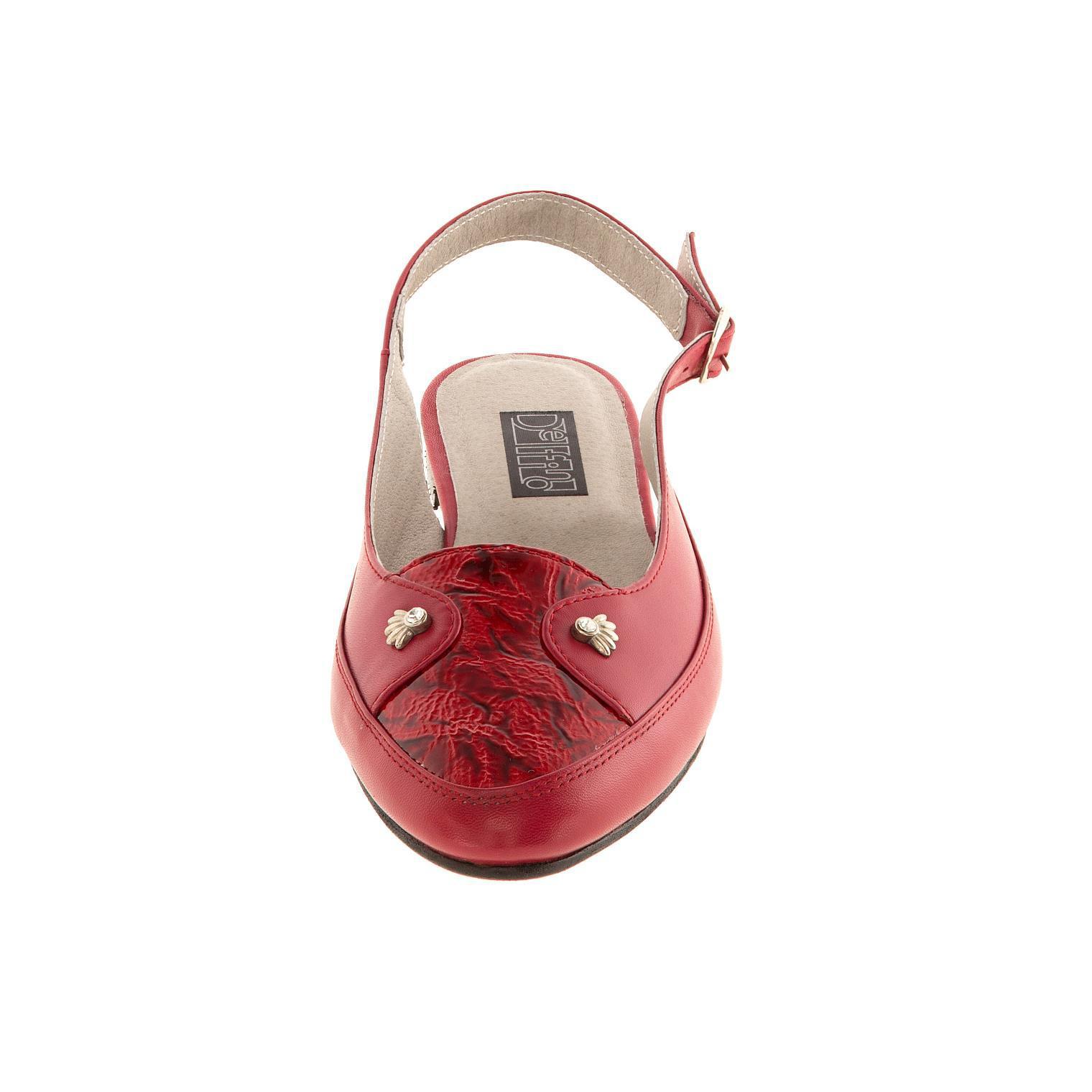 630199 Туфли летние женские красные больших размеров марки Делфино