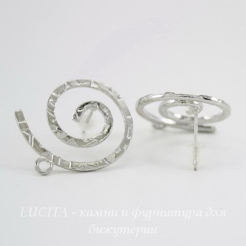"""Пуссеты - гвоздики """"Спираль"""" (цвет - античное серебро)(с заглушками) 24х21 мм"""