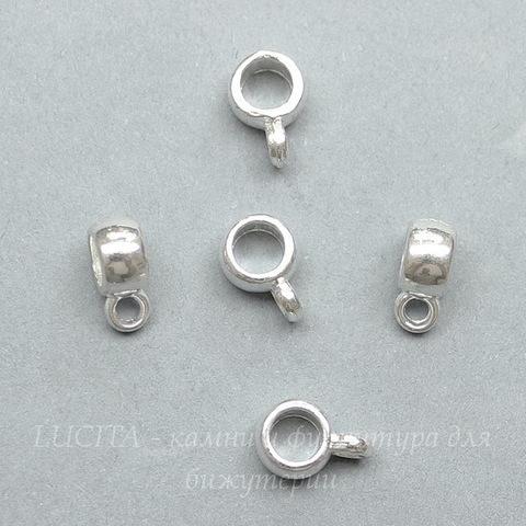 Бейл гладкий 9х4 мм (цвет - серебро), 5 штук