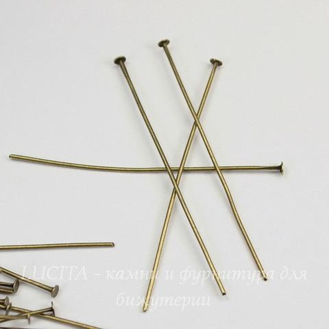 Комплект пинов - гвоздиков 50х0,8 мм (цвет - античная бронза), 20 гр (примерно 95 шт)
