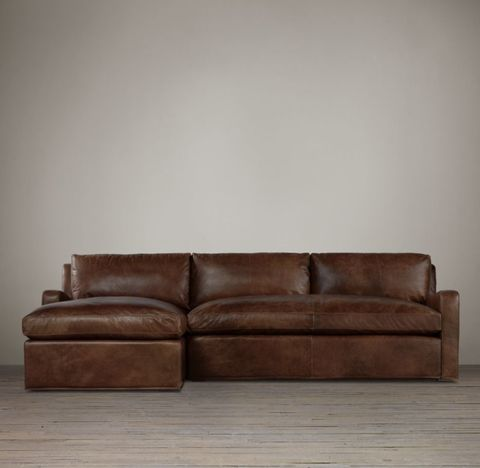 Belgian Slope Arm Leather Left-Arm Sofa Chaise Sectional
