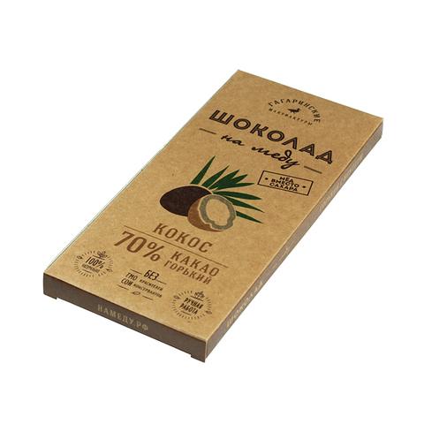 Эко шоколад на меду 70% какао с кокосом 50 гр