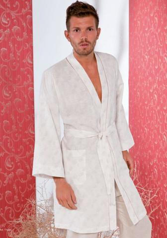 Льняной мужской халат-кимоно