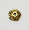 """Шапочка для бусины """"Завитки"""" (цвет - античное золото) 9х2,5 мм, 10 штук"""
